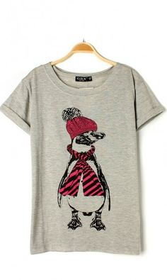 Cotton blended cute penguin short-sleeved T-shirt X612
