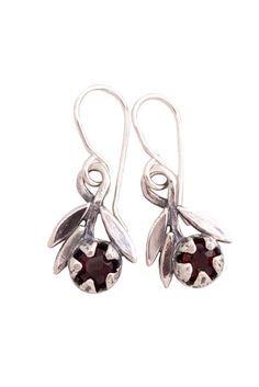 RedMānuka Sprig with Garnet Silver Earrings Garnet Earrings, Silver Earrings, Manuka Tree, Jewellery Nz, Earrings Handmade, Handmade Jewelry, Small White Flowers, Sterling Silver Flowers, Red Garnet
