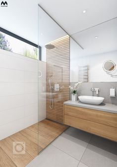 Bathroom Design Tile Walk In Shower Window 65 Super Ideas Master Bathroom Shower, Wood Bathroom, Natural Bathroom, Bathroom Showers, Ensuite Bathrooms, Light Bathroom, White Bathroom, Bathroom Mirror Wall, Grey Floor Tiles Bathroom