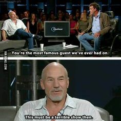 Funny pictures about Sir Patrick Stewart. Oh, and cool pics about Sir Patrick Stewart. Also, Sir Patrick Stewart photos. Seinfeld, Funny Quotes, Funny Memes, Car Memes, 9gag Funny, True Memes, Funniest Memes, Car Humor, Nerd Funny