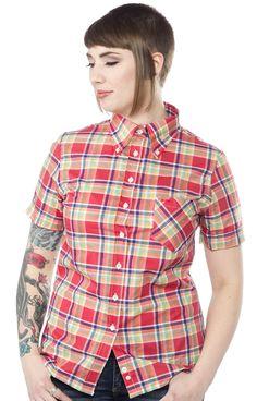 BRITAC GIRLS BUTTON DOWN RED/BLUE/GRN $60.00 #britac #womens #buttondown #mod