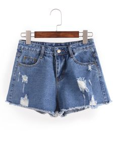 Shop Distresed Raw Hem Denim Shorts online. SheIn offers Distresed Raw Hem Denim Shorts & more to fit your fashionable needs.