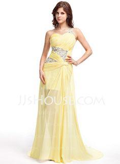 Prom Dresses - $142.99 - A-Line/Princess One-Shoulder Sweep Train Chiffon Prom Dress With Ruffle Beading (018019108) http://jjshouse.com/A-Line-Princess-One-Shoulder-Sweep-Train-Chiffon-Prom-Dress-With-Ruffle-Beading-018019108-g19108