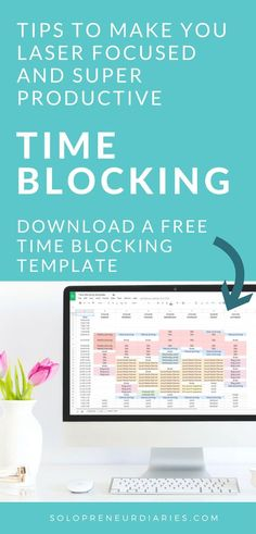 Time Blocking Template | Are you an entrepreneur who struggles with finding time to focus on your business because you have so many things going on? Download this free printable spreadsheet and start time blocking. This productivity hack will help you stay focused on your business priorities. Click through to download your time blocking schedule planner.