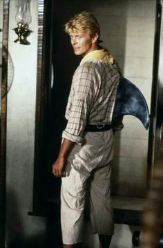 David Bowie wearing a shark fin because he can.  And because he did, in a movie called Yellowbeard.