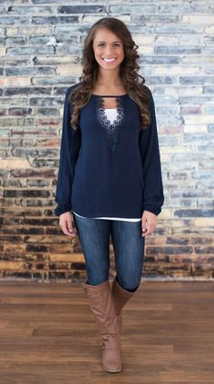 The pink lily boutique - she& the one navy blouse Pink Lily Boutique, A Boutique, Cute Fashion, Fashion Looks, Fashion Outfits, Fall Winter Outfits, Autumn Winter Fashion, Pretty Outfits, Cute Outfits