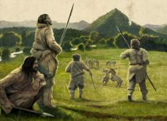 Hunters in the early Mesolithic period by Arturo Asensio Panthera Leo Spelaea, Forest People, Prehistoric Man, Primitive Survival, Human Evolution, Hunter Gatherer, Stone Age, Historical Pictures, Writing Inspiration