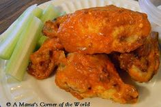 A Mama's Corner of the World: Garlic Parmesan Buffalo Chicken Wings Recipe with No Butter or Breading