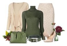 """""""nude & olive green"""" by rvazquez ❤ liked on Polyvore featuring Fat Face, Oscar de la Renta, MARIOS, Massimo Matteo, Orciani, Jil Sander, WorkWear, Fall, autumn and fallsweaters"""