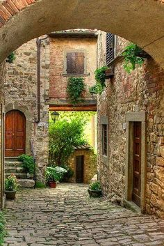 Picturesque medieval village of Montefioralle in Tuscany, Italy (by This one is for Nikita and :) Village Photos, Cozy Backyard, Enclosed Patio, Patio Shade, Mediterranean Home Decor, Tuscany Italy, Sorrento Italy, Italy Italy, Naples Italy