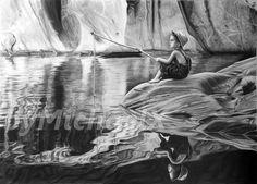 Drawing pencil - young boy fishing