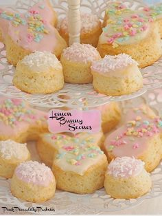 Ingredients:  2 cups AP flour 1 tbsp baking powder 1/2 tsp salt 3 tbsp sugar zest of 2 lemons 4 oz (1 stick) cold unsalted butter cut into small pieces 1 tsp vanilla extract 3/4 to 1 cup heavy cream  For Glaze:  juice of 2 lemons powdered sugar  pink & yellow food coloring pastel sprinkles shredded unsweetened coconut
