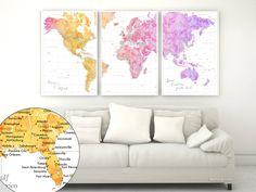 "Custom quote - highly detailed world map printable with cities, set of 3 split panels in 24x36"" each. ""Missy"" #ArtPrint #3SplitPostersWorldMap #custom #BlackAndWhite #3PanelsWorldMap #3SplitPosters #colorful #colors #CustomArtwork #CustomArtPrint"