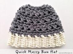 Quick Crochet Messy Bun Hat | Maria's Blue Crayon