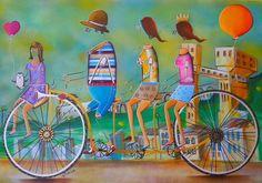 Obra: Saudade da Bahia  #bahia #saudade #sentimentos #art #alemaoart #obra #cores #colors #bicicletas #bike #familia #family #tela #frame #quadro #pintura