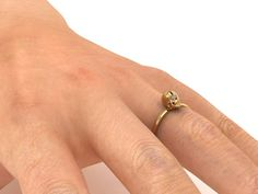 14K Gold Delicate Skull Band with Diamond by adamfosterjewelry