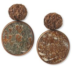 """""""The perfect earrings for fall: ammonite, copper and white gold earrings by Hemmerle. Carved copper leaves form the domes, complimenting the strikingly…"""""""