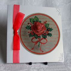 Handmade Christmas Card, Red Rose and Holly £2.00