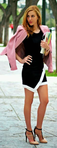 Pink chic with Black And White - Street style