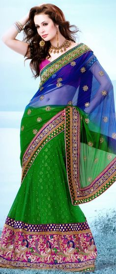 #Blue and #Green Net #Lehenga Style #Saree With Blouse @ $187.55 | Shop Now @ http://www.utsavfashion.com/store/sarees-large.aspx?icode=ssx3642