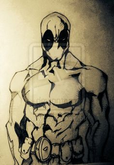 Deadpool Drawing using Pen, Fine liners and pencils