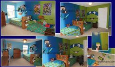 Minecraft and Ninja Turtle Room Green to Blue Ombre Shared Sibling bedroom, Boy Room, Older and younger sibling, Privacy Ombre paint, Gradient Paint, Transitions You can see how I did the Ninja Turtle Face in another one of my pins on this board. :) ckgraphics@aol.com