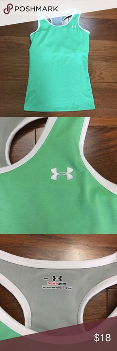 Under Armor heat gear work out too in green Under Armor heat gear work out too in green with built in bra Under Armour Tops Tank Tops