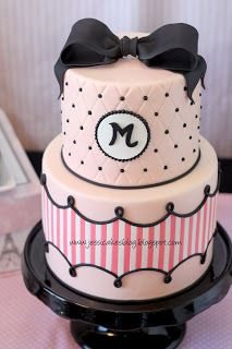 Jessica's Pink/Black/White cake tutorial.  Lots of pictures. Super cute.