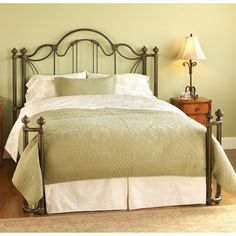 Marlow Iron Bed by Wesley Allen - Aged Bronze Finish - - PLEASE NOTE: IMAGE SHOWS BED IN OPEN TOE RETURN POST CONFIGURATION