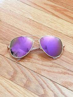 Purple Mirror Lens Aviator Sunglasses