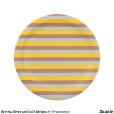 Brown, Silver and Gold Stripes Paper Plate