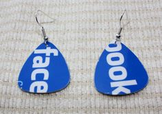 Handmade Upcycled Gift Card Guitar Pick Earrings by HotAndClassy, $4.00