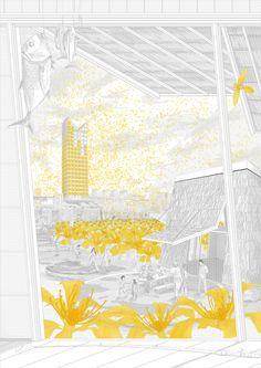 major project image - The Liquid Light of Diego Garcia - Viktor Westerdahl Croquis Architecture, Architecture Graphics, Architecture Visualization, Architecture Design, Photomontage, Bartlett School Of Architecture, Presentation Styles, Architecture Presentation Board, Portfolio Design