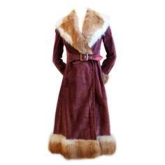 1970's GUCCI burgundy suede coat with fox fur trim