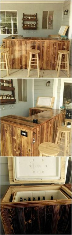 20 Brilliant DIY Pallet Furniture Design Ideas to Inspire You - diy pallet creations Pallet Furniture Designs, Wooden Pallet Furniture, Bar Furniture, Woodworking Furniture, Wooden Pallets, Furniture Projects, Pallet Wood, Wooden Pallet Crafts, Diy Pallet Projects