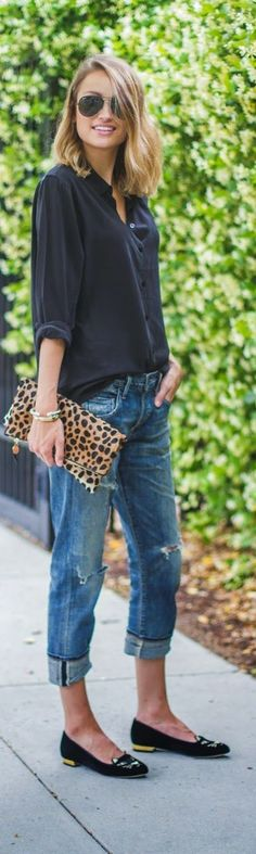 Pair your basics with a pair of boyfriend jeans and add a pop of print to accentuate!