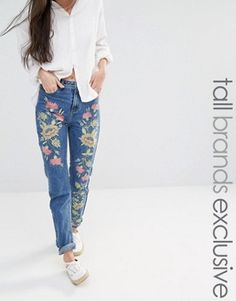 Glamorous Tall Boyfriend Jean With Floral Embroidery