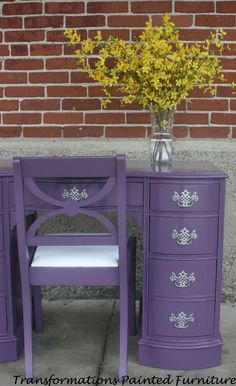 Purple Painted Desk-Painted Vanity by Transformations Refurbished Furniture, Repurposed Furniture, Furniture Makeover, Painted Furniture, Painted Desks, Furniture Projects, Furniture Making, Diy Furniture, Purple Furniture