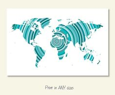 World map outline geography pinterest outlines draw and paintings large world map poster blue download turquoise by sunnyrainfactory gumiabroncs Image collections