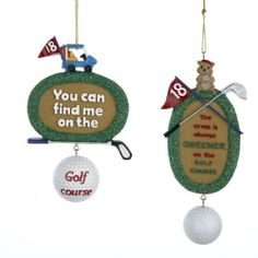 12 Christmas Ornaments by Gordon Companies, Inc. $145.50. Shipping Weight: 3.00 lbs. This product may be prohibited inbound shipment to your destination.. Brand Name: Gordon Companies, Inc Mfg#: 30723719. Picture may wrongfully represent. Please read title and description thoroughly.. Please refer to SKU# ATR25778619 when you inquire.. 12 Christmas ornaments/golf theme/hangers included/flat-backed, one side/5''H/made of resin/you get 6 of each style