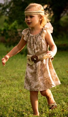 Natural cotton muslin floral dress handmade by VintageBabyLace, $55.00