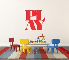 Play Wall Decal Stickers Kids Wall Decal Sticker Home Wall Decor Office Wall Decor Removable Wall Decal Kids Wall Art  Decorating made easy by adding wall decals or murals to walls, ceilings, furniture, windows, doors, etc., you instantly create an intriguing and unique look in your home or office.  ABOUT WALL DECALS: •••••••••••••••••••••••••••••••••••••••••••••••••••••••••••• • Need a different size? Contact me about pricing • Decals can be used on most surfaces including some textured…