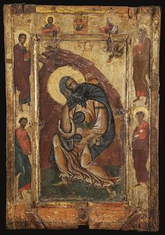 Prophet Elijah from a two-sided icon dated to the late 12th century [The reverse side is decorated with an image of St. John the Theologian]; Byzantine Museum, Kastoria
