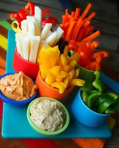 Homemade Flavored Hummus & Veggies! #APPETIZER #SUPERBOWL