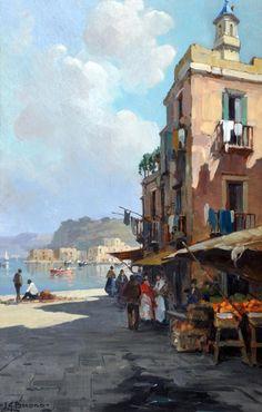 Buono Leon Giuseppe (Pozzuoli, NA 1887 - 1975) Pozzuoli @@@@.....http://es.pinterest.com/dianademeridor/when-shopping-was-an-art/ €€€€€€€