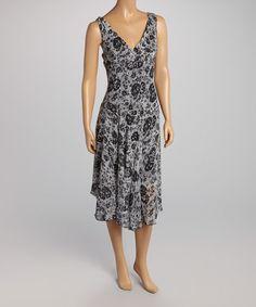 Another great find on #zulily! Black & White Sleeveless Empire-Waist Dress by AA Studio #zulilyfinds