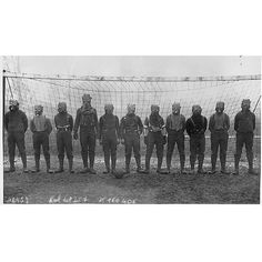 #mulpix 1916. A British Army soccer team with gas masks in Northern France, during World War I.   #WWI  #WW1  #war  #army  #soldier  #British  #France  #soccer  #football  #team  #gas  #mask  #wow  #historyinpictures  #historicalpix
