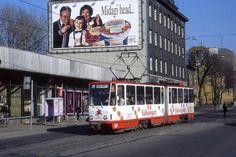 Tatra tram no 109 on route 4 with Yoghourt eaters, Tallinn, Estonia  May 1996 by sludgegulper, via Flickr