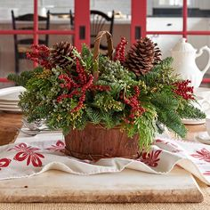 28 Christmas Centerpieces to Welcome House Guests Canella Berry Table Basket Country Christmas, Outdoor Christmas, Simple Christmas, Christmas Home, Christmas Wreaths, Homemade Christmas, Diy Christmas Lights, Decorating With Christmas Lights, Christmas Decorations