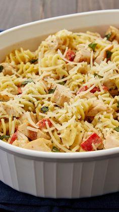 Creamy Pesto-Chicken Casserole - Turn store-bought pesto, pasta sauce and grilled chicken breast strips into a comforting casserole.